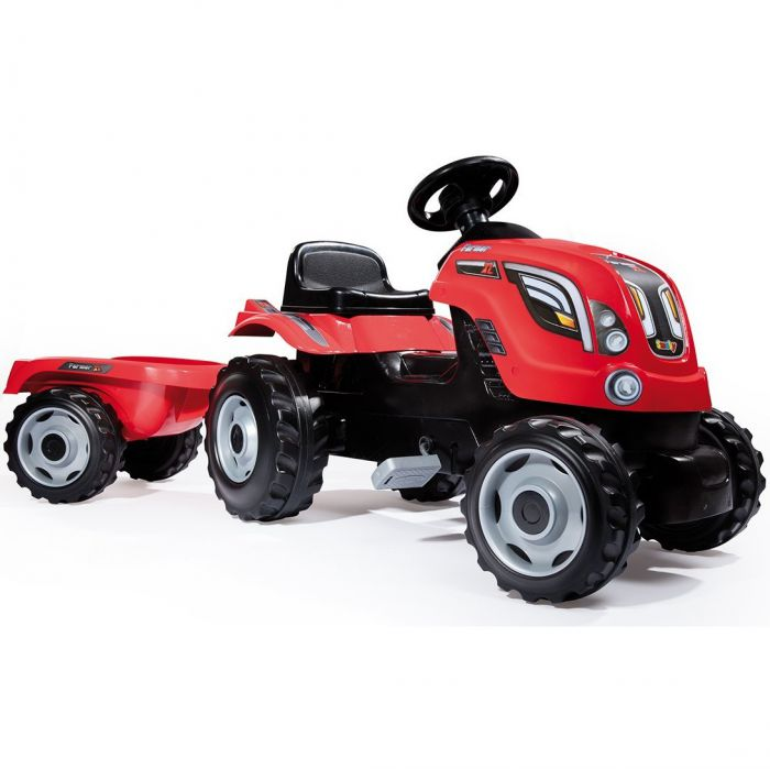 Simba-Smoby Farmer XL Tractor with Trailer (Red) Thumnail #0