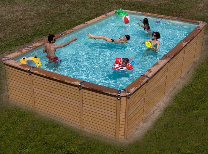 Zodiac azteck maxiwood rectangular wooden pool 4m x for Aufblasbarer pool 3m
