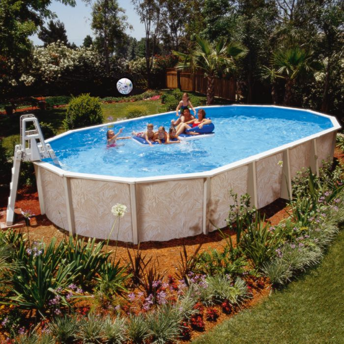 Doughboy regent oval steel pool 32ft x 16ft steel pools for Oval above ground swimming pool sizes