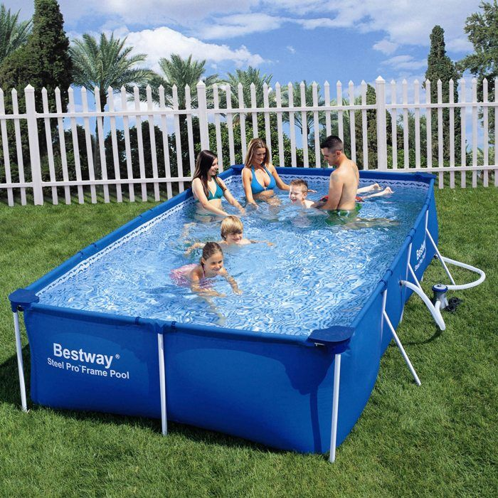 Paddling pool 157 bestway rectangular frame pool for Garden paddling pools