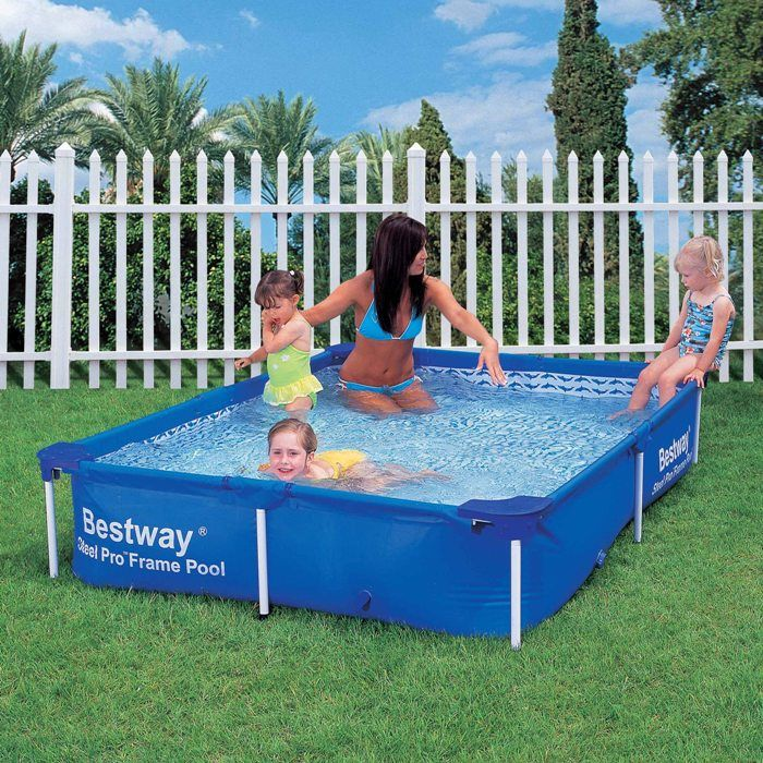 Bestway steel pro rectangular frame pool no pump 87 x 59 for Garden paddling pools