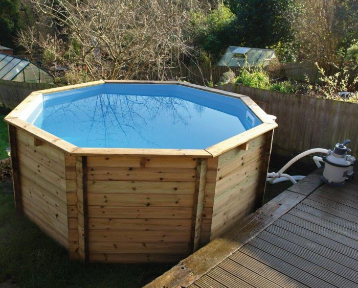 Plastica octagonal wooden fun pool 10ft x 36 with sand - How to build a swimming pool out of wood ...