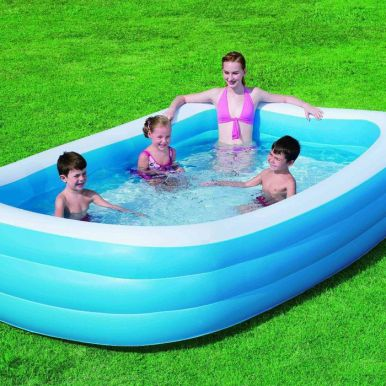 "Blue Rectangular Deluxe Family Paddling Pool 120"" - 54009"