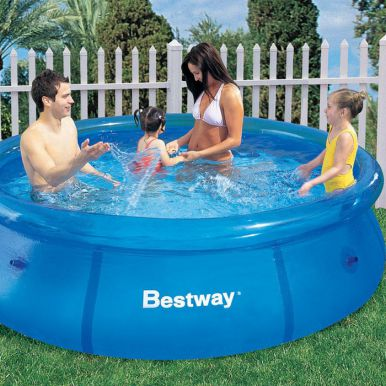 bestway fast set round inflatable pool 8ft x 26 no pump 57008 inflatable pools. Black Bedroom Furniture Sets. Home Design Ideas
