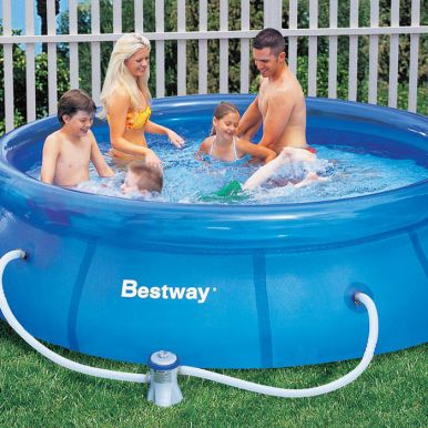 bestway fast set round inflatable pool 10ft x 30 no pump. Black Bedroom Furniture Sets. Home Design Ideas