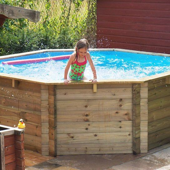 Octagonal Wooden Fun Pool With Sand Filter - 10ft x 48in by Plastica