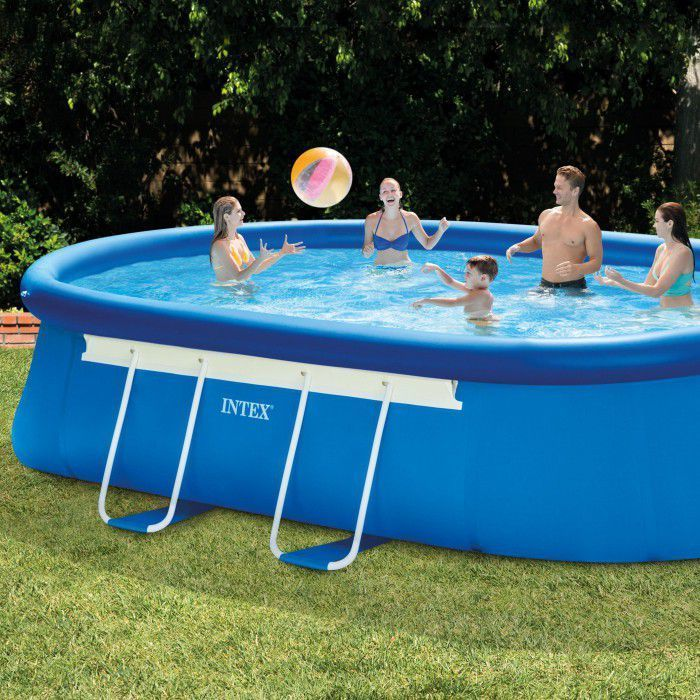 Intex Oval Framed Inflatable Pool Package 18ft X 10ft X 42