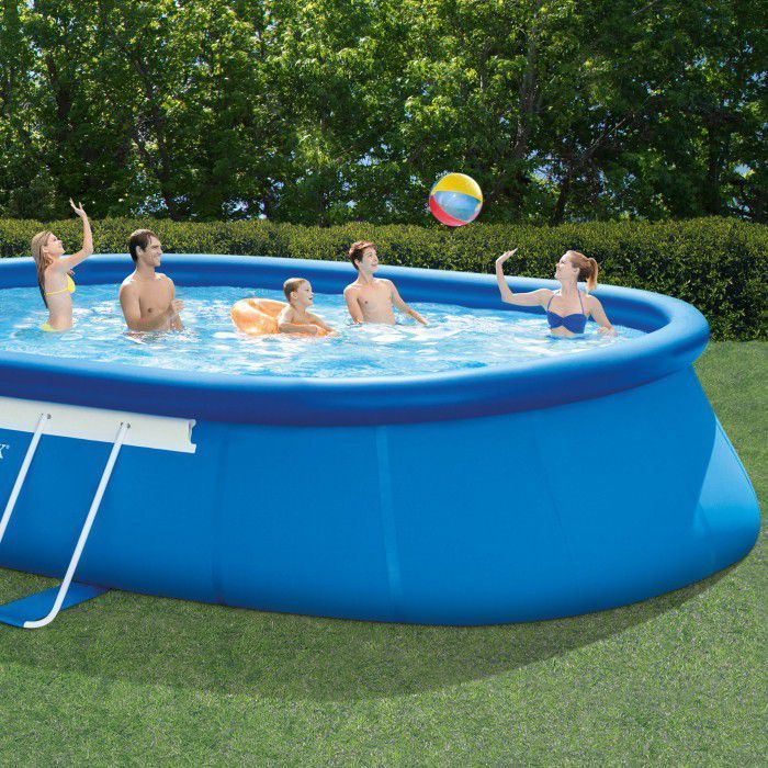 Intex oval framed inflatable pool package 20ft x 12ft x 48 - Intex oval frame pool ...
