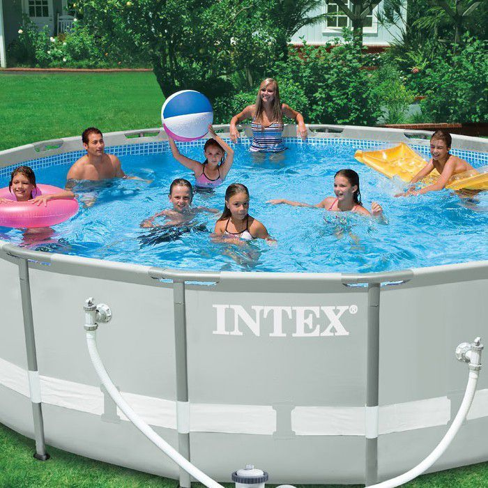 intex ultra metal frame round metal pool 16ft x 48 with sand filter 28324 metal frame round. Black Bedroom Furniture Sets. Home Design Ideas
