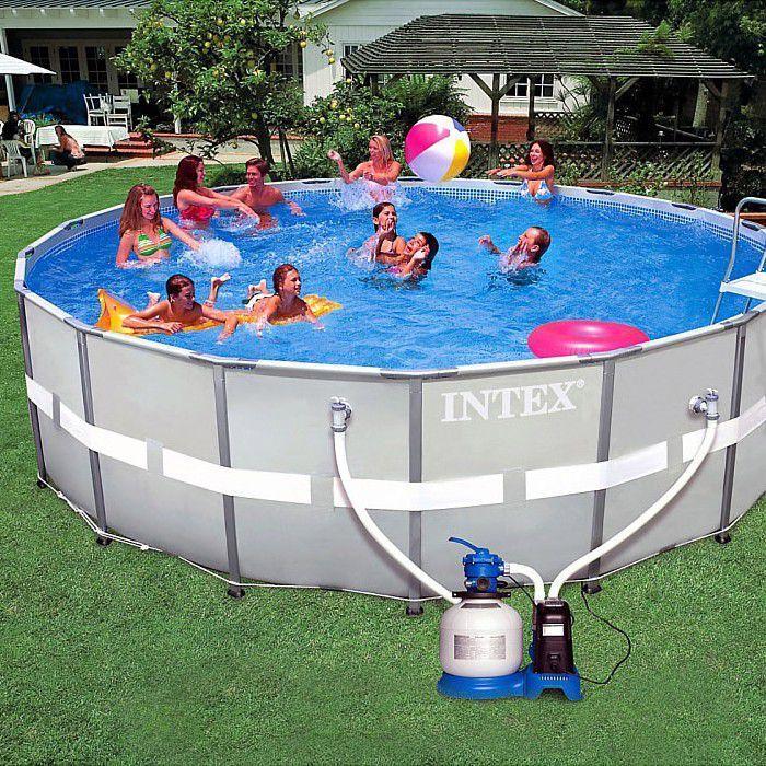 Intex 18ft Ultra Metal Frame Round Saltwater Metal Pool