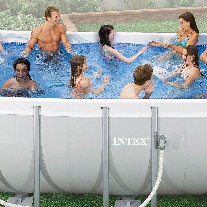 Intex ultra frame rectangular metal pool 9 39 x 18 39 x 52 with sand filter for Intex 18 x 9 x 52 ultra frame swimming pool