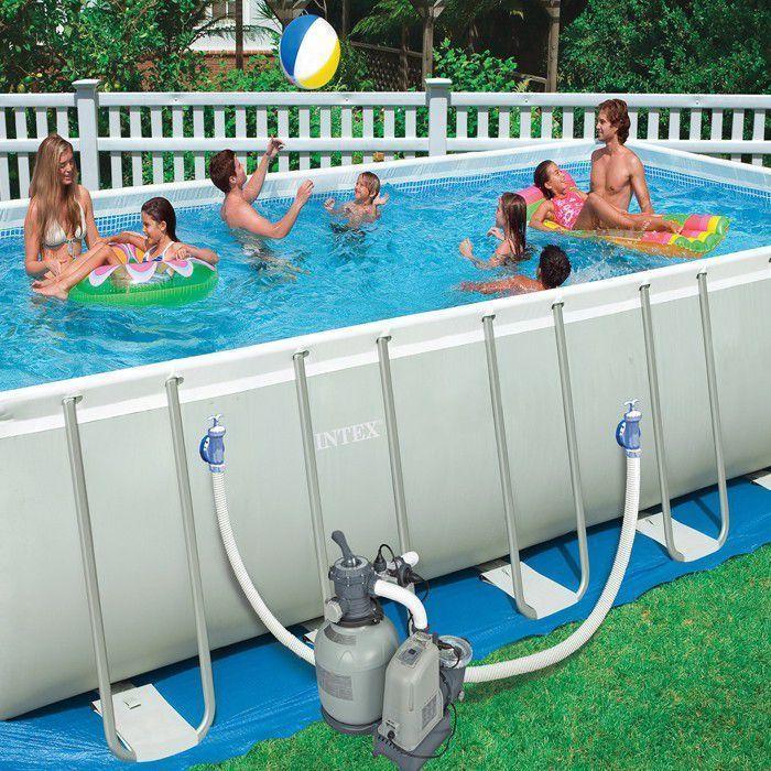 Intex ultra frame rectangular metal pool 12 39 x 24 39 x52 with - Ultra frame rectangular swimming pool ...
