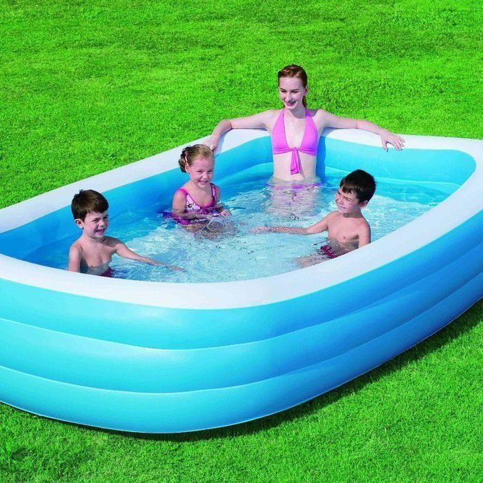 "Blue Rectangular Deluxe Family Paddling Pool 120"" - 54009 Thumnail #1"