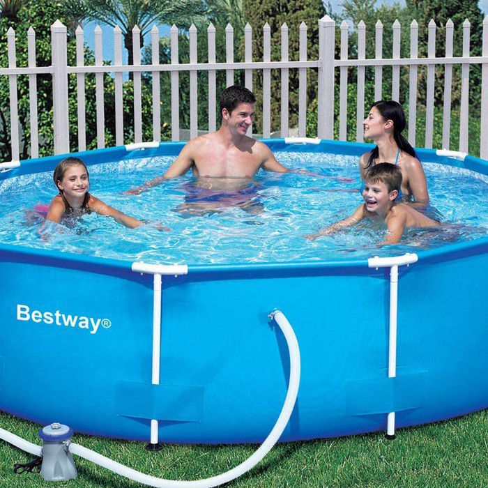 bestway steel pro metal frame round pool 10ft x 30 no pump 56406 metal frame round pools. Black Bedroom Furniture Sets. Home Design Ideas