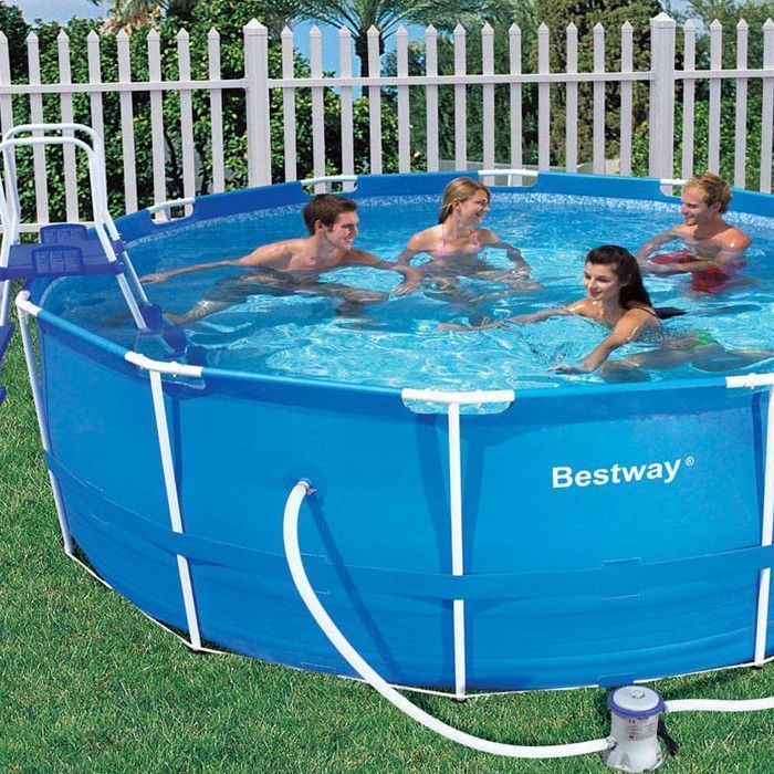Bestway steel pro metal frame round pool package 12ft x 48 - Bestway steel frame swimming pool ...