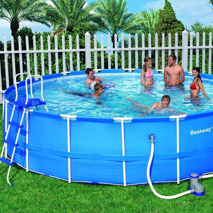 Bestway steel pro metal frame round pool package 18ft x 48 for Swimming pool financing poor credit