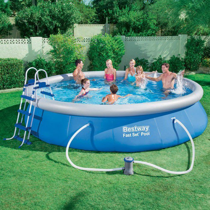 bestway fast set round inflatable pool 15ft x 36 no pump. Black Bedroom Furniture Sets. Home Design Ideas