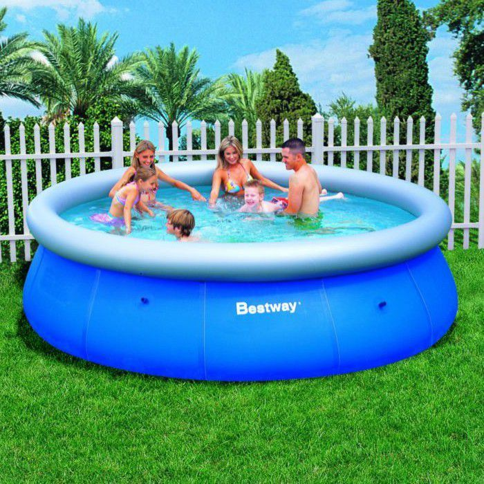 bestway fast set round inflatable pool 12ft x 36 no pump. Black Bedroom Furniture Sets. Home Design Ideas