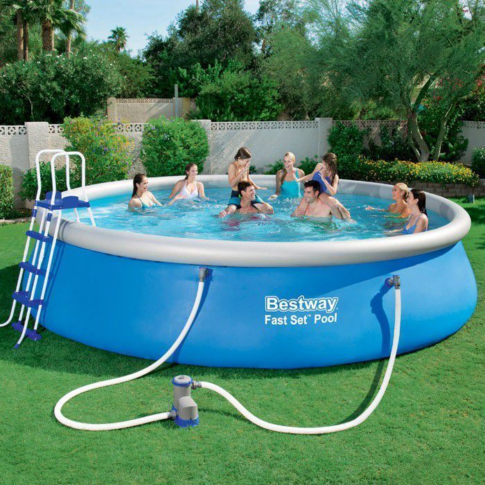 Bestway fast set round inflatable pool package 18ft x 48 for Inflatable above ground pools