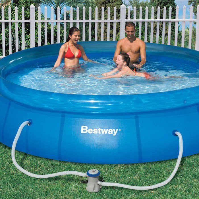 bestway fast set round inflatable pool 12ft x 30 57112. Black Bedroom Furniture Sets. Home Design Ideas