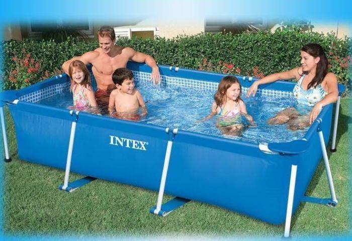 intex rectangular metal frame pool no pump 86 5 8 x 59 x 23 5 8. Black Bedroom Furniture Sets. Home Design Ideas