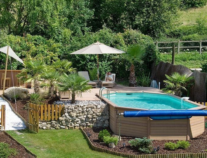 4m Plastica Wooden Pool Oval Wooden Pool 4m x 7.2m