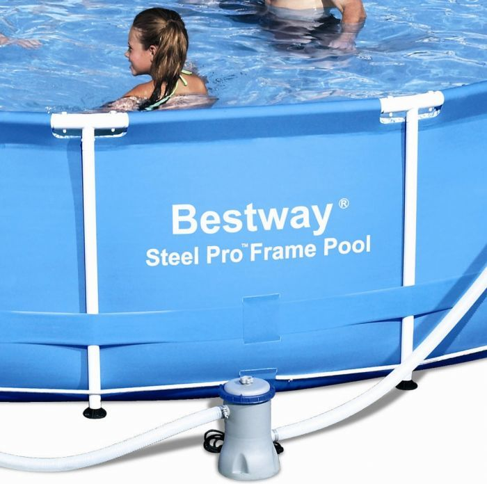 Bestway steel pro metal frame round pool package 18ft x 48 - Bestway steel frame swimming pool ...