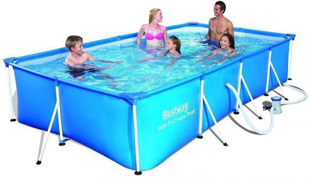 bestway steel pro rectangular frame pool with pump 157 x. Black Bedroom Furniture Sets. Home Design Ideas