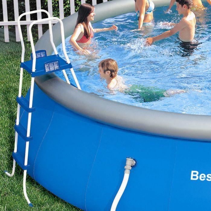 bestway fast set round inflatable pool package 18ft x 48. Black Bedroom Furniture Sets. Home Design Ideas