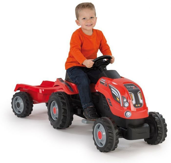 Simba-Smoby Farmer XL Tractor with Trailer (Red) Thumnail #2
