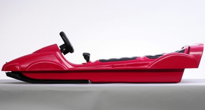 Snow Double Racer Red Sledge Toboggan Thumnail #2