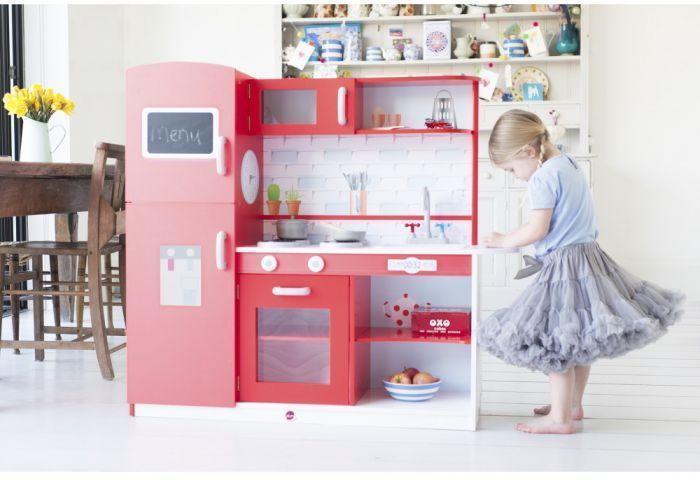 Plum Terrace Wooden Play Kitchen In Red Kids Toy Playset