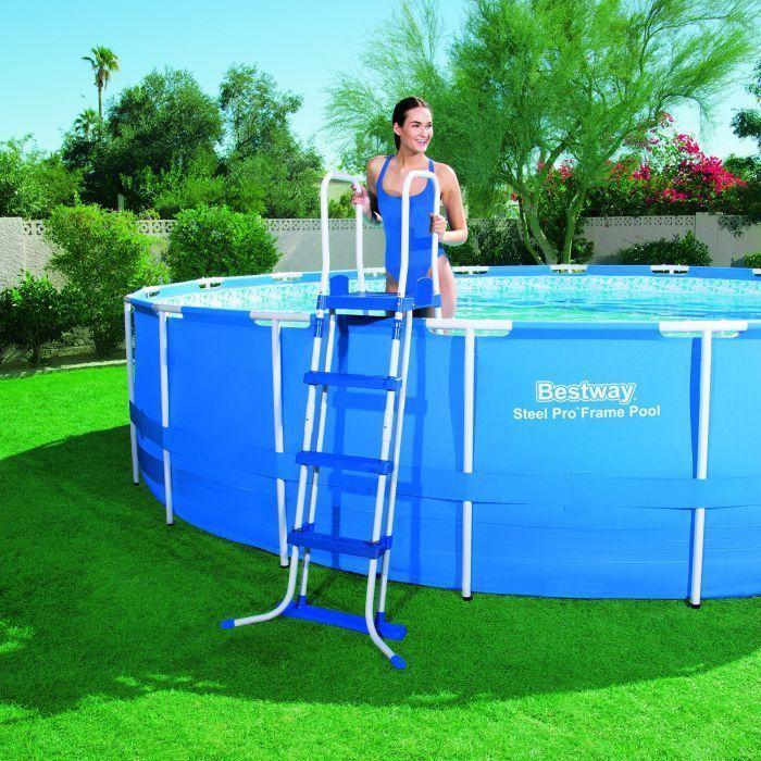 Bestway Steel Pro Silver Rectangular Frame Pool With Pump 165 X73 X48