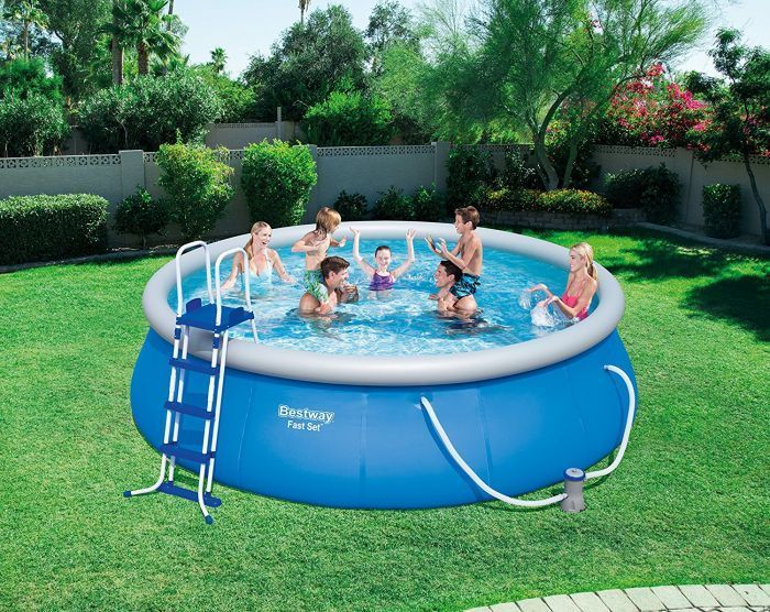 bestway fast set round inflatable pool package 15ft x 42. Black Bedroom Furniture Sets. Home Design Ideas