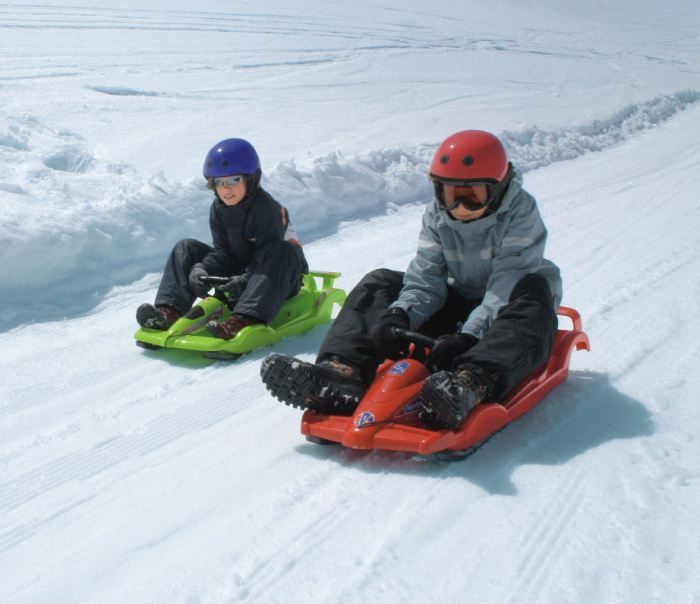 Snow Double Racer Red Sledge Toboggan Thumnail #4