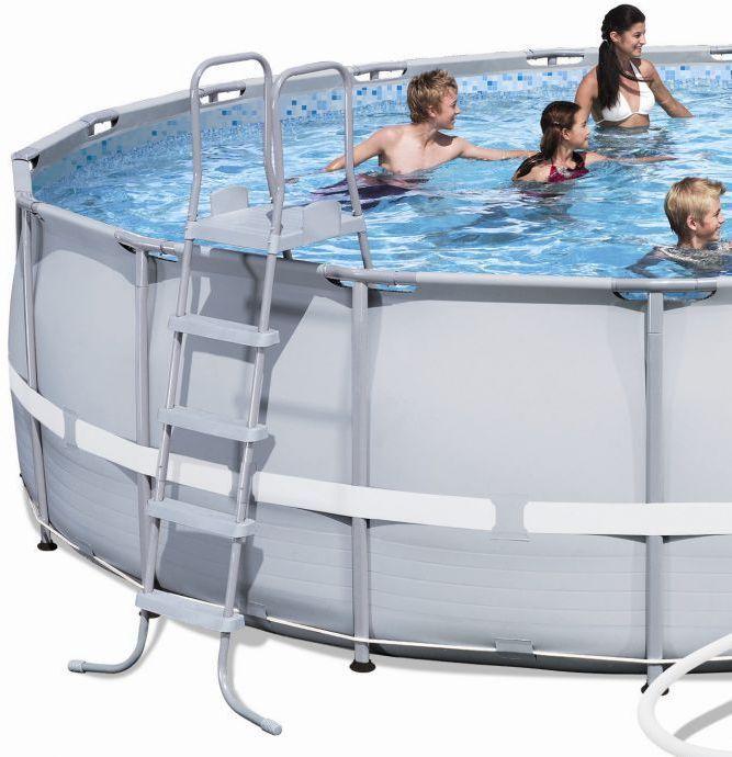 bestway steel pro silver metal frame round pool 22ft x 52. Black Bedroom Furniture Sets. Home Design Ideas
