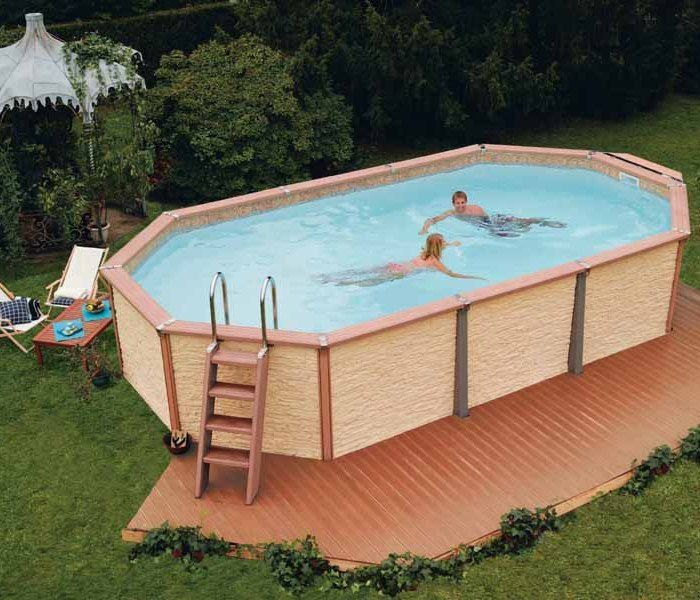 Zodiac azteck maxiwood rectangular wooden pool 4m x for Swimmingpool 3m