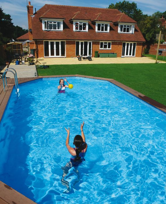 Eco stretched octagonal wooden pool from plastica for Environmentally sustainable swimming pools