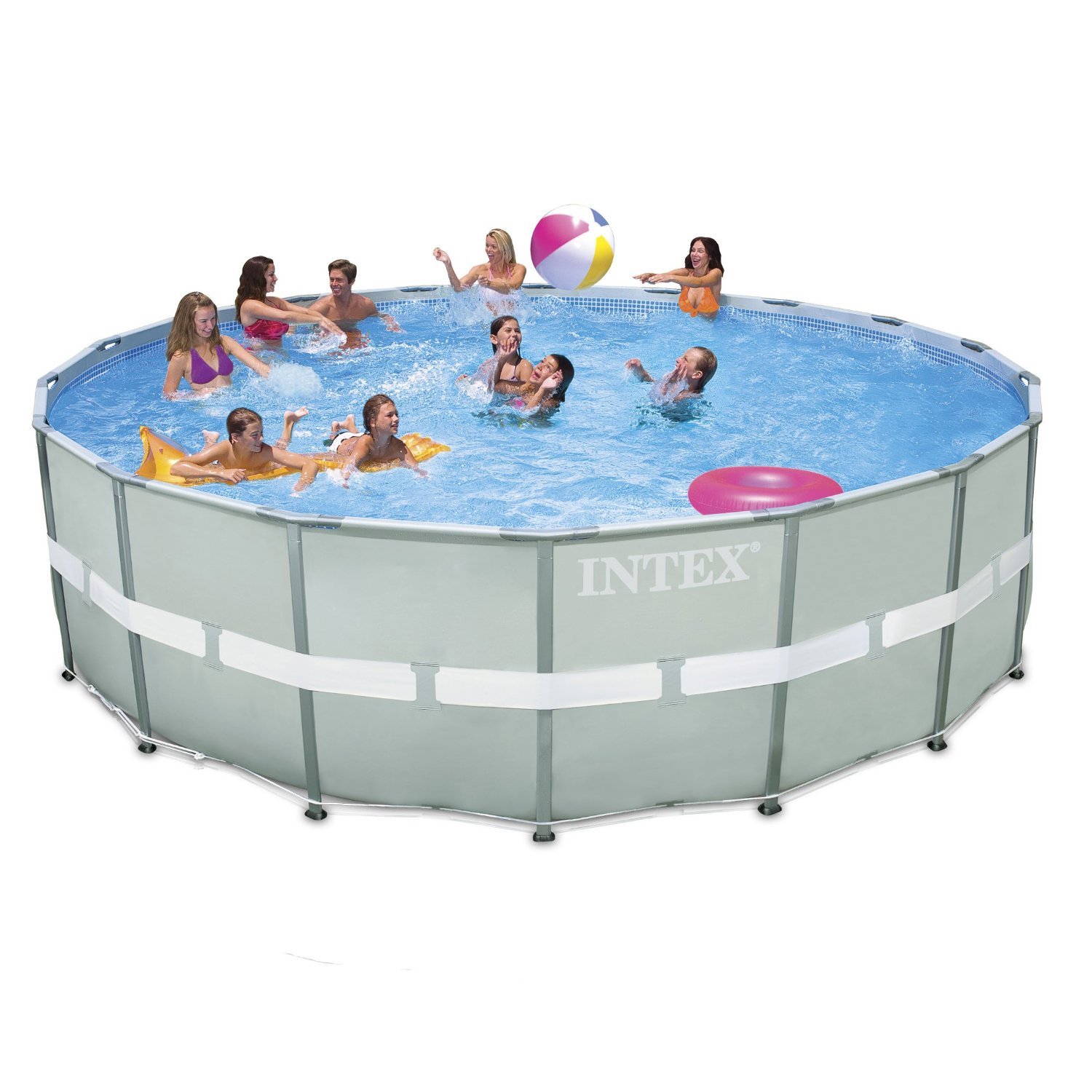 Intex ultra frame round saltwater metal pool 18ft x 52 with sand filter 28336 for Intex swimming pools australia